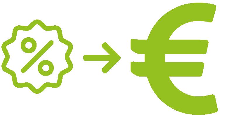 Schéma de transformation du discount en euros