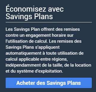 Screenshot souscription Saving plans AWS