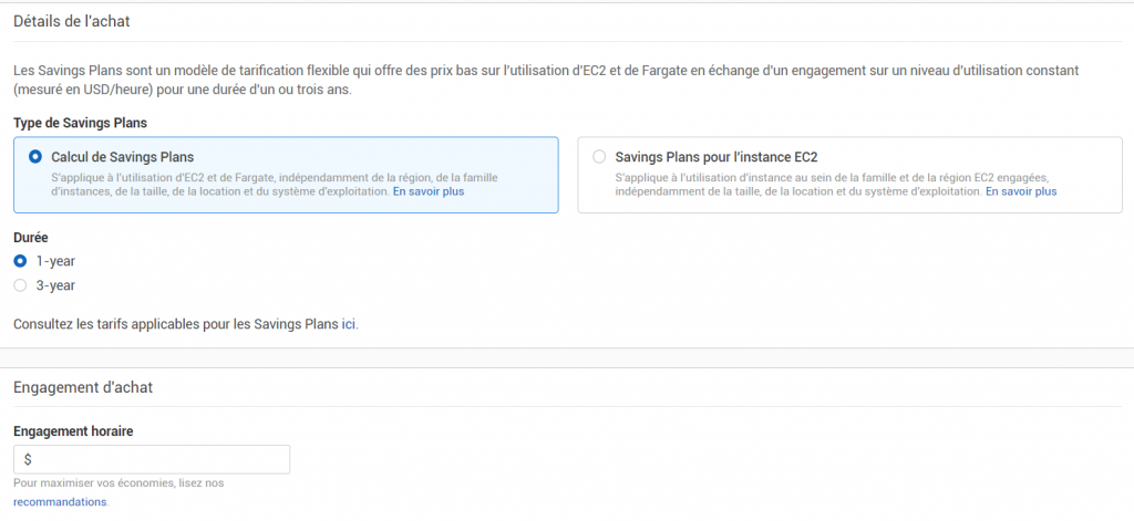 Screenshot de l'interface Saving Plans AWS