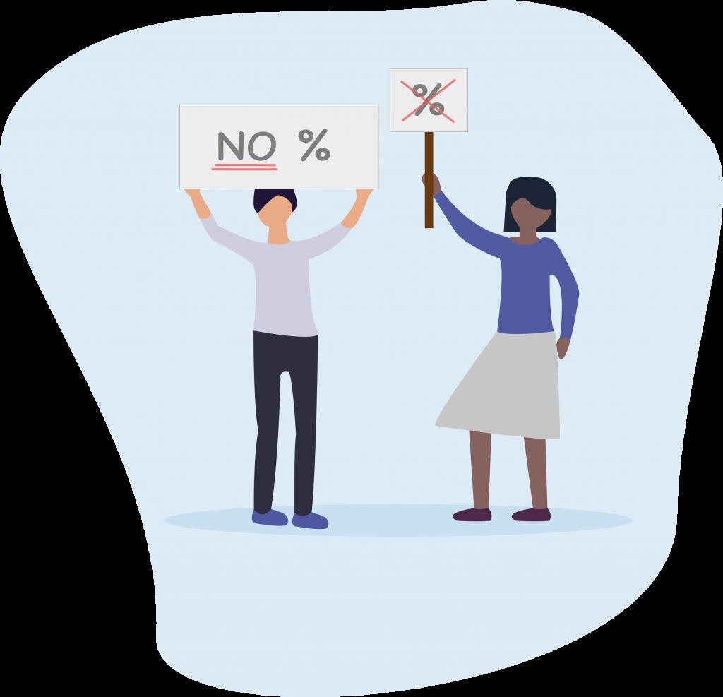 "illustration Lota ""No % dans les tarifs"""